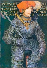 """Лукас Кранах Старший. """"Иоахим II - избранный принц"""". 1520 год. Железные перчатки - непременный атрибут рыцарского костюма."""