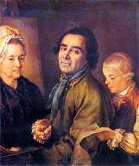 """П. Дрождин. """"Портрет художника А. П. Антропова с сыном перед портретом жены"""". 1776 год. Русский музей, Санкт-Петербург."""