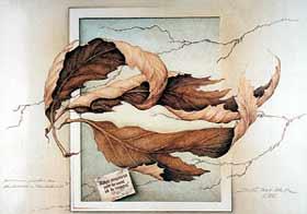 """С. Дель-Прете. """"Тайна между осенними листьями"""". 1991 год. Галерея в Берне, Швейцария."""