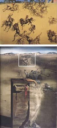 """Две картины Сальвадора Дали: слева - """"Голова женщины в виде битвы"""". 1936 год; справа - """"Испания"""". 1938 год."""