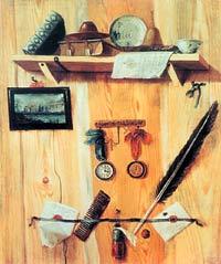 Г. Теплов. Натюрморт-обманка. 1737 год. Государственный Эрмитаж, Санкт-Петербург.